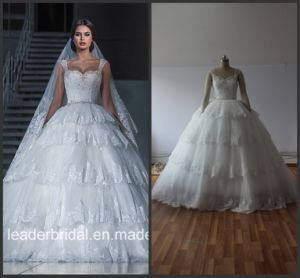 Real Photo Wedding Gowns Lace Tulle Tiered Puffy Bridal Dresses G1729 pictures & photos
