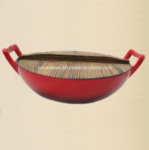 China Factory Enamel Cast Iron Chinese Wok Dia 25cm pictures & photos
