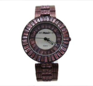 Full Diamond Lady Watch Steel Bracelet Chain Luxury Quartz Watch pictures & photos