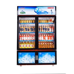 Larger Volume Sliding Door Upright Freezer with Two Temperatures and Lockers pictures & photos