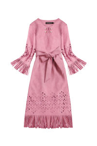 2018 Lady′s Brand New Custom Hollow out Suede Fabric Tassels Dress