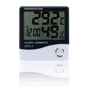 Digital Thermometer Hygrometer with Clock Household Temperature Humidity Meter pictures & photos