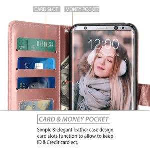 Rose Gold PU Leather Wallet Flip Card Slots Kickstand Protective Case for Samsung Galaxy S8 Plus pictures & photos