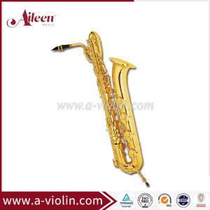 Eb Key Low a# Gold Lacquer Bass Saxophone (SP3051G) pictures & photos