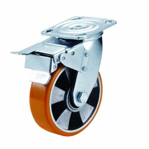 4-8 Inch PU on Aluminum Caster Heavy Duty Industrial Wheel with Brake pictures & photos