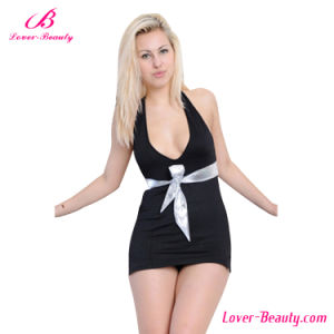 Black Open Front Backless Mini Dress pictures & photos