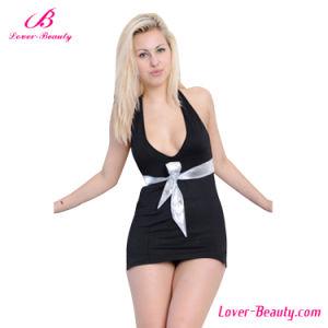 Black Open Front Backless Mini Dress