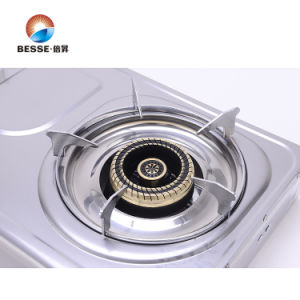 Dull Polished Stainless Steel Double Burner Gas Stove pictures & photos