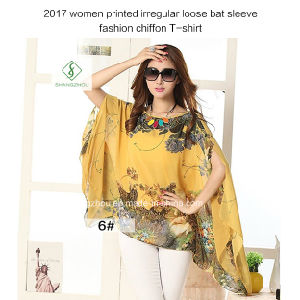 Newest Women Printed Irregular Loose Bat Sleeve Fashion Chiffon T-Shirt pictures & photos