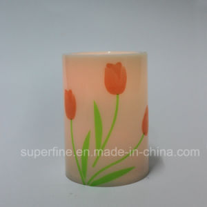 Romantic SPA Decorative Electric Christmas Plastic Candle Products with Beautiful Tulip Pinting pictures & photos