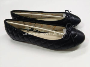 Black PU Ballet Shoes Winter Style for Women pictures & photos