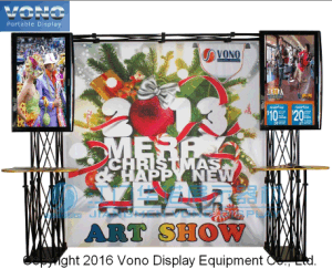 Trade Show Truss Booth Display Stand with 2 TV Mounts and Custom Graphic Backdrop