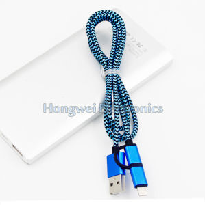 USB 3.1 Type-C to Micro USB 2 in 1 Nylon Braided Micro Charging USB Cable pictures & photos