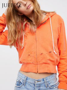 Short Zip-up Hoody with Hole pictures & photos