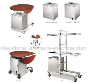 5 Star Hotel Equipment Gold Luxury Wood Food Service Hotel Trolley Room Service Cart pictures & photos