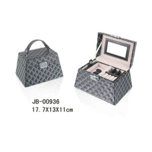 Cute Design Black PU with White Stitching Jewelry Storage Box Jewelry Box pictures & photos