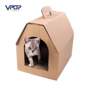 House Shaped Cardboard Cat Bed Corrugated Scraching House