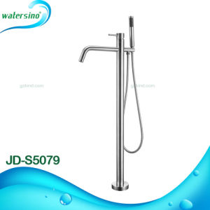Stainless Steel 304 Floorstanding Bathtub Faucet with Hand Shower pictures & photos
