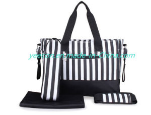 Waterproof Mummy Tote Stripe Handbag Baby Diaper Nappy Changing Bag Set pictures & photos