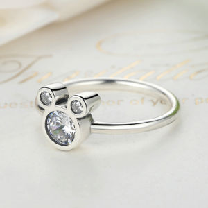 Sterling 925 Silver White Gold Mickey Mouse Cubic Zirconia Ring pictures & photos