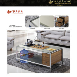 Large Glass Top Coffee Table Square Coffee Table with Storage (Yf-170060T)