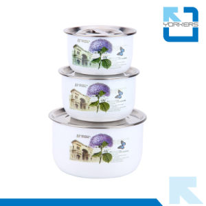 High Quality 3PCS Stainless Steel Cover Soup Bowl pictures & photos