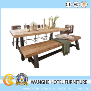 Modern Plank Dining Table Stainless Steel Dining Furniture Set pictures & photos