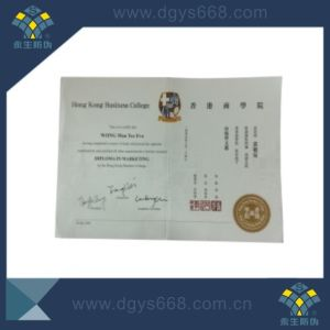 Anti-Counterfeiting Certificate with Hot Stamping Watermark UV Fiber Printing pictures & photos