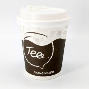 Customised Chinese 7oz Paper Tea Cup with Lid pictures & photos