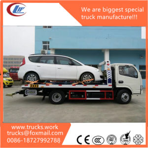 Dongfeng 4*2 One Carry Two Flatbed Road Wrecker Truck 5tons pictures & photos