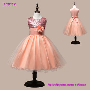 New Real Princess Flower Girl Dresses Sequins Sash Tea Length Tulle Infant Toddler Girls Pageant Dresses Party Dress pictures & photos