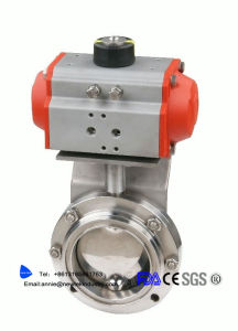 Sanitary Ss304 Stainless Horizontal Pneumatic Welded Butterfly Valve pictures & photos