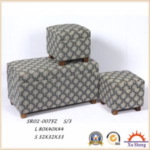 3-PC Upholstered Lift Top Linen Print Storage Ottoman Bench pictures & photos