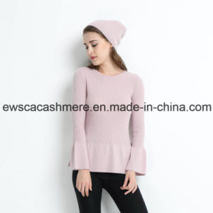 Pink Color Lady Round Neck Cashmere Pullover with Falbala