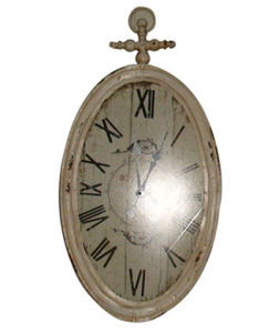 White Oval Iron Decoration Wall Clock Comes in Antique Finish pictures & photos