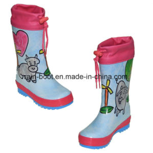 Natural Colourful Hand Paint Rubber Children Rain Boots pictures & photos
