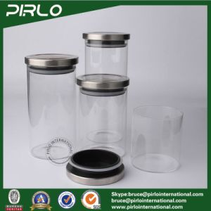 Clear Kitchenware Sealed Glass Containers Wide Mouth Food Storage Glass Jar with Metal Lids pictures & photos
