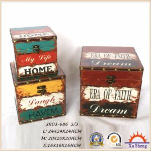 Multi-Color PU Print Wooden Storage Trunk Jewelry Box Gift Box for Decoration pictures & photos