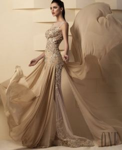 Sheer Sequins Evening Dress Chiffon Champagnes Prom Dresses Z5029 pictures & photos