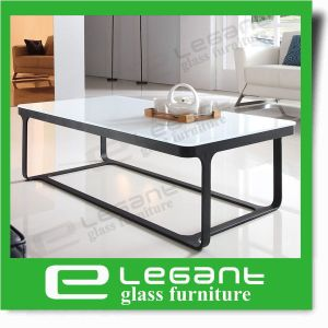 Clear Bent Glass Coffee Table with Ash Wood Veneer Shelf pictures & photos