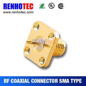 Gold Plated Flange SMA Female with Two Holes RF Connector pictures & photos