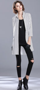 Cotton Stripe Long Line Women Shirt pictures & photos