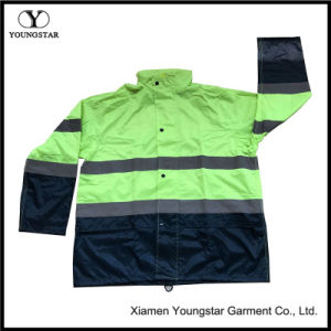 Hi Vis Safety Nylon Raincoat Pants Workwear Mens Reflective Rain Suit pictures & photos