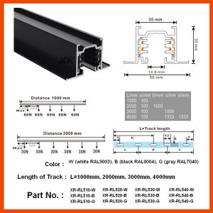 TUV LED Aluminum Profile Track Rail for Commercial Lighting (XR-RL510) pictures & photos