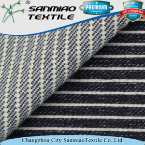 Indigo 330GSM Striped Twill Knit Denim Fabric