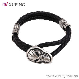 Stainless Steel Men′s Jewelry Skull Mask Bangles in Leather Material pictures & photos