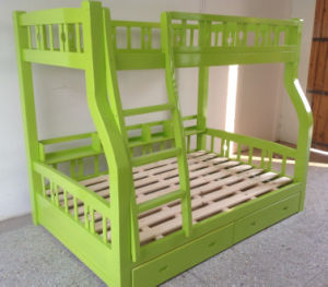 Green Color Wooden Kids Bunk Bed Good Style Bunk Bed (M-X1102) pictures & photos