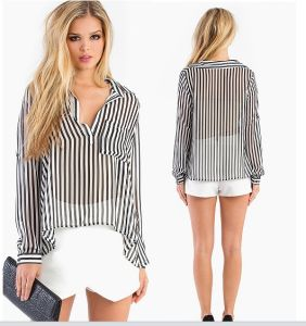 OEM Fashion Women Clothing Long Sleeve Loose Women Blouse pictures & photos