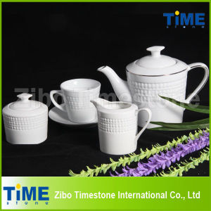 White Porcelain Embossed Wholesale Tea Sets pictures & photos