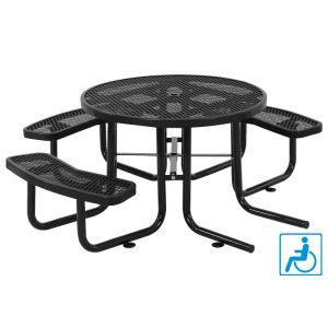 "46"" Ada Round Expanded Metal Picnic Table Top and 3 Bench Seats"